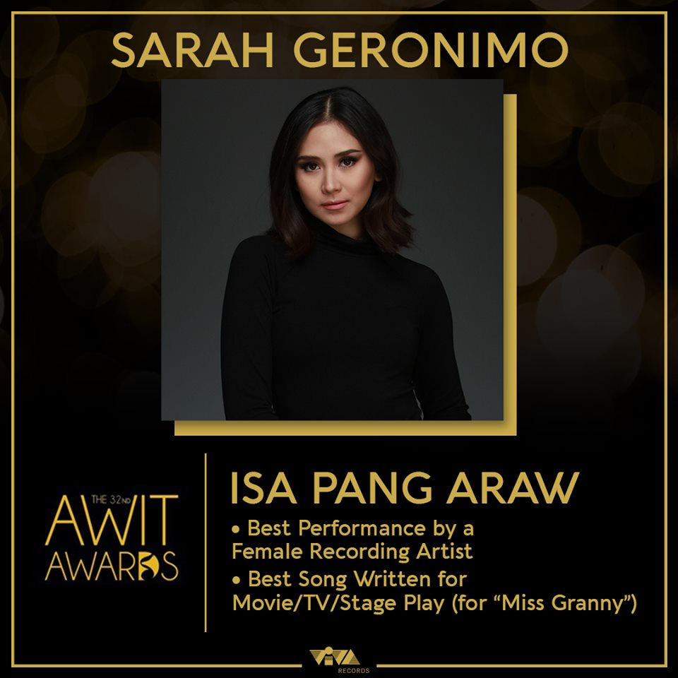Sarah Geronimo nominated in 2 categories in this year's Awit Awards